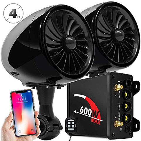 Gohawk Tj4 2.1 Channel Amplifier 4  Full Range Waterproof Bluetooth Motorcycle Stereo Speakers Audio System Aux Fm Radio For 7/8-1.25 In. Handlebar Harley Honda Yamaha Can-Am Atv Utv Rzr Polaris