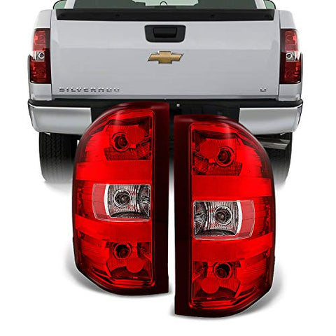 For Chevy Silverado Pickup Truck Rear Red Clear Tail Lights Brake Lamps Replacement Pair Left + Right