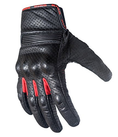 Motorcycle Biker Gloves Black Premium Leather | Touchscreen | Padded All Weather Feature For Men And Women | Breathable Moisture Wick Air Flow Technology Between Fingers | Swift (Red-Md)