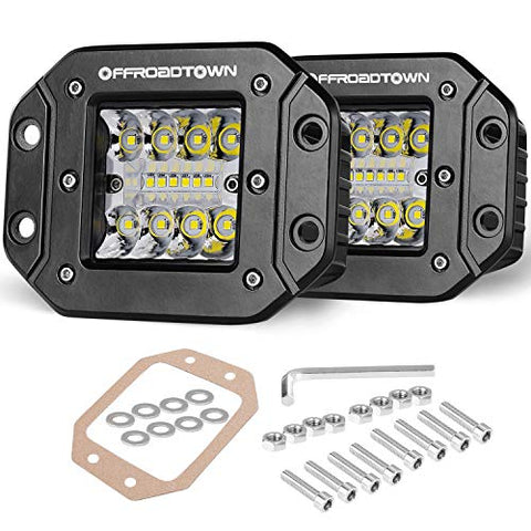Flush Mount Led Pods, Offroadtown 2Pcs 5'' 78W Driving Lights Led Work Light Flush Led Light Bar Super Bright Fog Lights Off Road Lights For Truck Suv Boat 4X4 Jeep Grill Mount, 3 Years Warranty