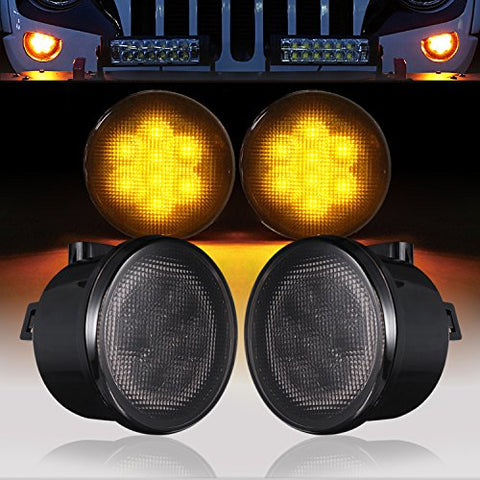 Hooke Road Front Turn Signal Lights Amber Led Smoked Lens For 2007-2018 Jeep Wrangler Jk &Amp; Jk Unlimited