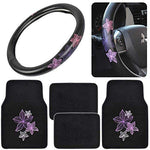 Pretty Rugs Gift Pack - Matching Flowers Design - Black Carpet Floor Mats W/Synthetic Leather Grip Steering Wheel Cover