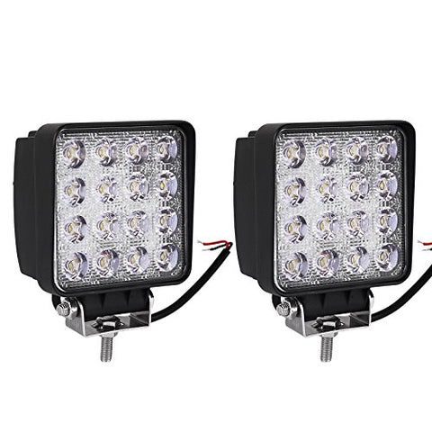 Led Light Bar Yitamotor 2Pcs 4Inch 48W Square Led Pod Light Flood Light Off Road Light Led Fog Light Truck Light Driving Light Boat Light Pickup Suv Atv Utv Waterproof, 2 Year Warranty