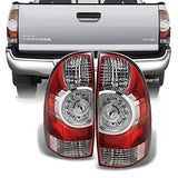 For 2009-2015 Toyota Tacoma Pickup Truck Red Clear Rear Tail Lights Brake Lamps Replacement Pair Left + Right