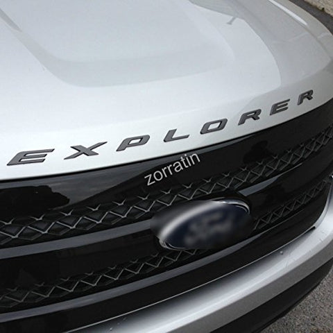 Zorratin Matte Black Metal (Not Plastic) Explorer Letter Front Hood Emblem Badge For Ford Explorer 2011-2015 2016