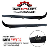 Make Auto Parts Manufacturing Passenger/Right Side And Driver/Left Side Inner And Outer Window Sweep Felts Weatherstrip 4 Pc Kit - Rear/Front For Ford Bronco, F150, F250, F350 1984-1997