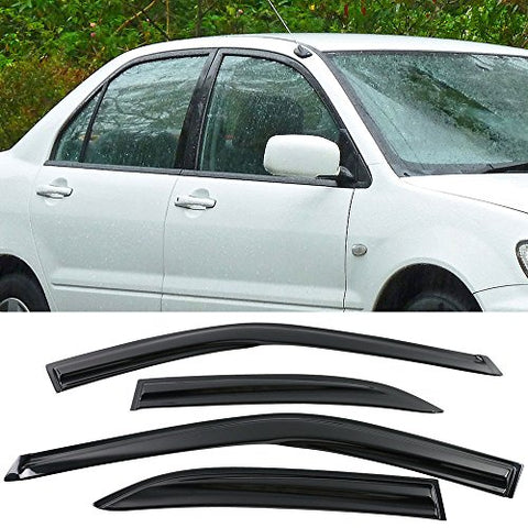 Window Visors Fits 2001-2007 Mitsubishi Lancer | Smoked Aero Jdm Wind Deflectors Stick On By Ikon Motorsports | 2002 2003 2004 2005 2006