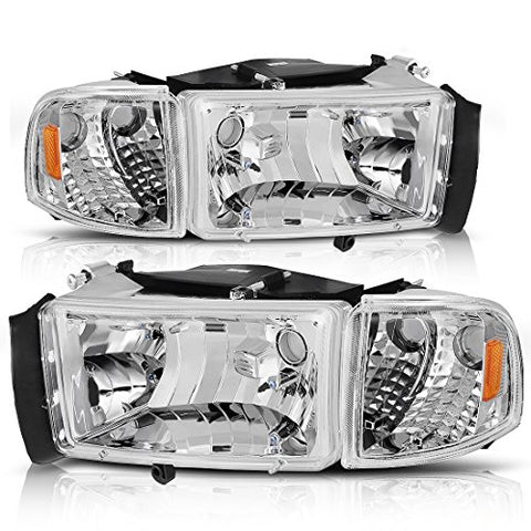 Headlight Assembly For 1994-2001 Dodge Ram 1500/1994-2002 Dodge Ram Pickup 2500 3500 Chrome Housing Amber Reflector With Corner Lights (Passenger And Driver Side)