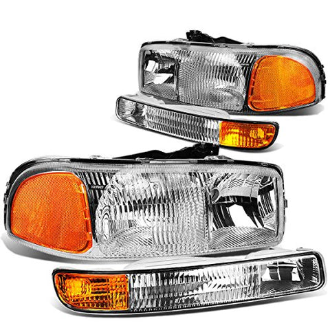 For Gmc Sierra Gmt800 Pair Of Oe Style Chrome Housing Headlights W/Amber Corner Bumper Lights