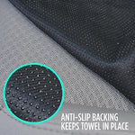 Ultrafit Sweat Towel Auto Car Seat Cover For Yoga Running Crossfit Workout Athletes - Waterproof Machine Washable - Beach Swimming Outdoor Sports Seat Protector (Gray)