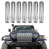 Hooke Road Silver Chrome Front Grille Mesh Inserts For 1997-2006 Jeep Wrangler Tj &Amp; Unlimited