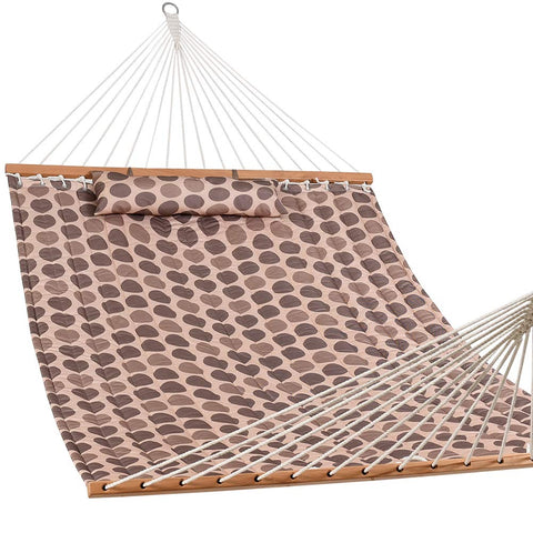 "Lazy Daze Hammocks 55"" Double Quilted Fabric Hammock Swing With Pillow, Romantic Coffee Bean"
