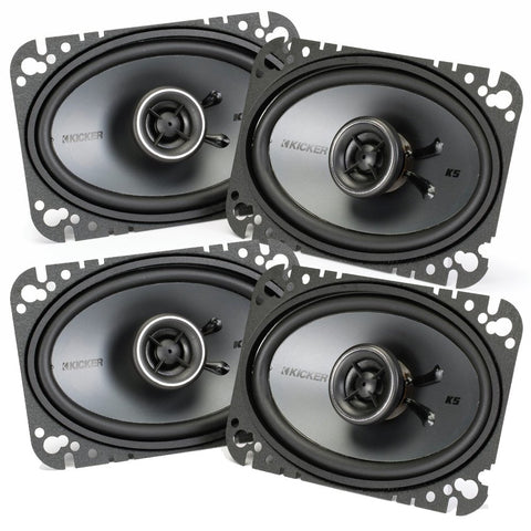 Kicker Speaker Bundle - Two Pairs Of Kicker 4X6 Inch Ks-Series Speakers 41Ksc464