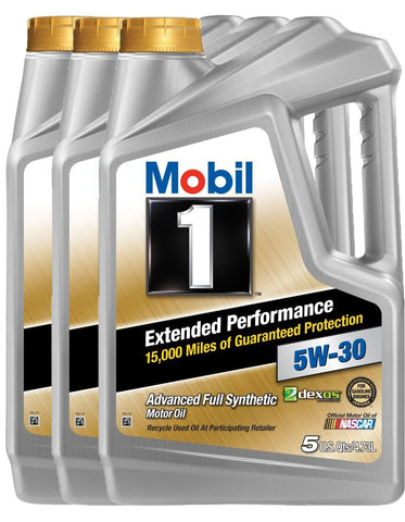Mobil 1 (120766-3Pk) Extended Performance 5W-30 Motor Oil, 5 Quart