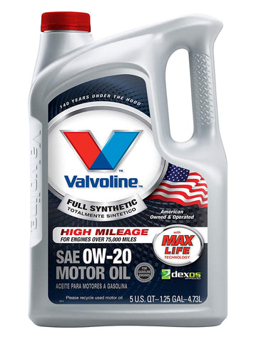 Valvoline  Full Synthetic High Mileage With Maxlife  Technology Sae 0W-20 Motor Oil 5 Qt, Case Of 3
