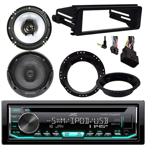 "Jvc Kdr490 Cd Stereo Audio Receiver - Bundle Combo With 2X Kenwood 6.5"" Inch Black Coaxial Speakers W/Adapter Brackets + Radio Dash Kit For 1998-2013 Harley Motorcycle Bikes"