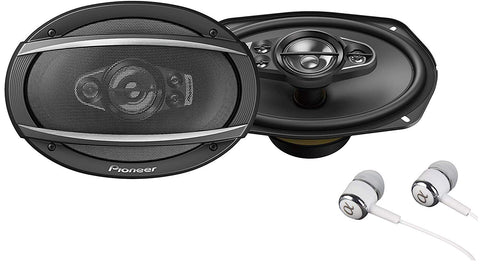 "Pioneer Ts-A6990F A Series 6""X9"" 700 Watts Max 5-Way Car Speakers Pair With Carbon And Mica Reinforced Injection Molded Polypropylene (Impp) Cone Construction W/Free Alphasonik Earbuds"