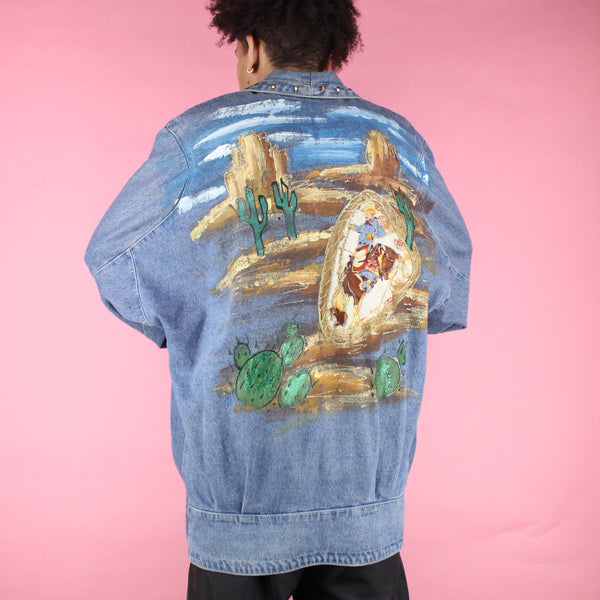 Horses on the back jean jacket