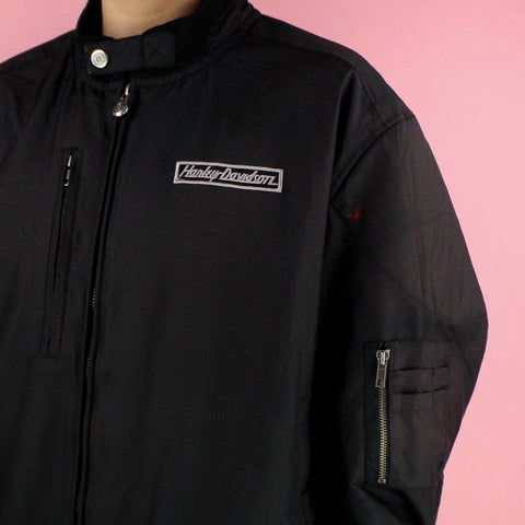 90s Harley Davidson Black Motorcycle Jacket