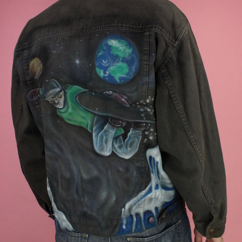 1980s Custom Painted Distressed Gear Denim Jacket