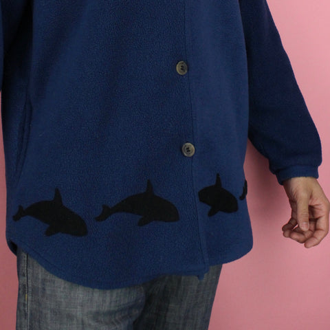 90s Era Dolphin Pattern Pea Coat