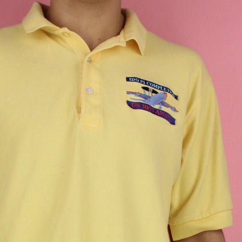 90s Embroidered Airplane Polo Shirt