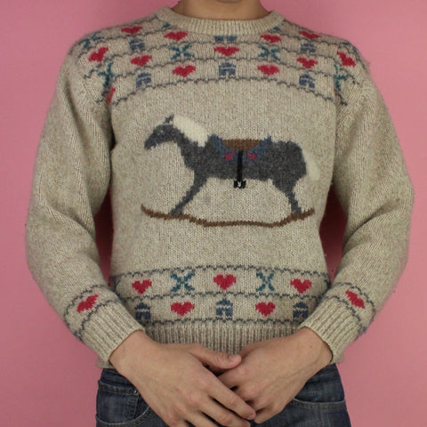1990 Eddie Bauer Rocking Horse Sweater
