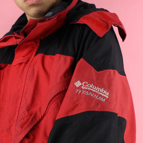 90s Oversized Red Columbia Rain Jacket