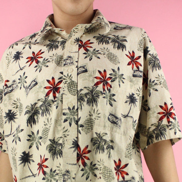 Vintage Tan Hawaiian Floral Button up