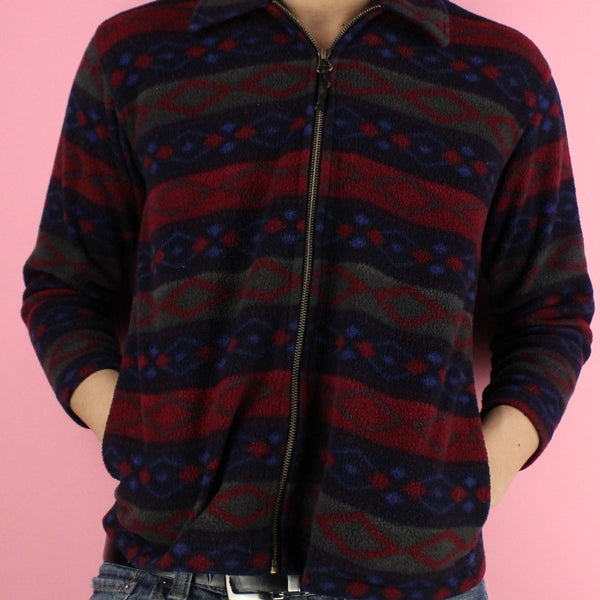90s Patterned Zip-up Jacket