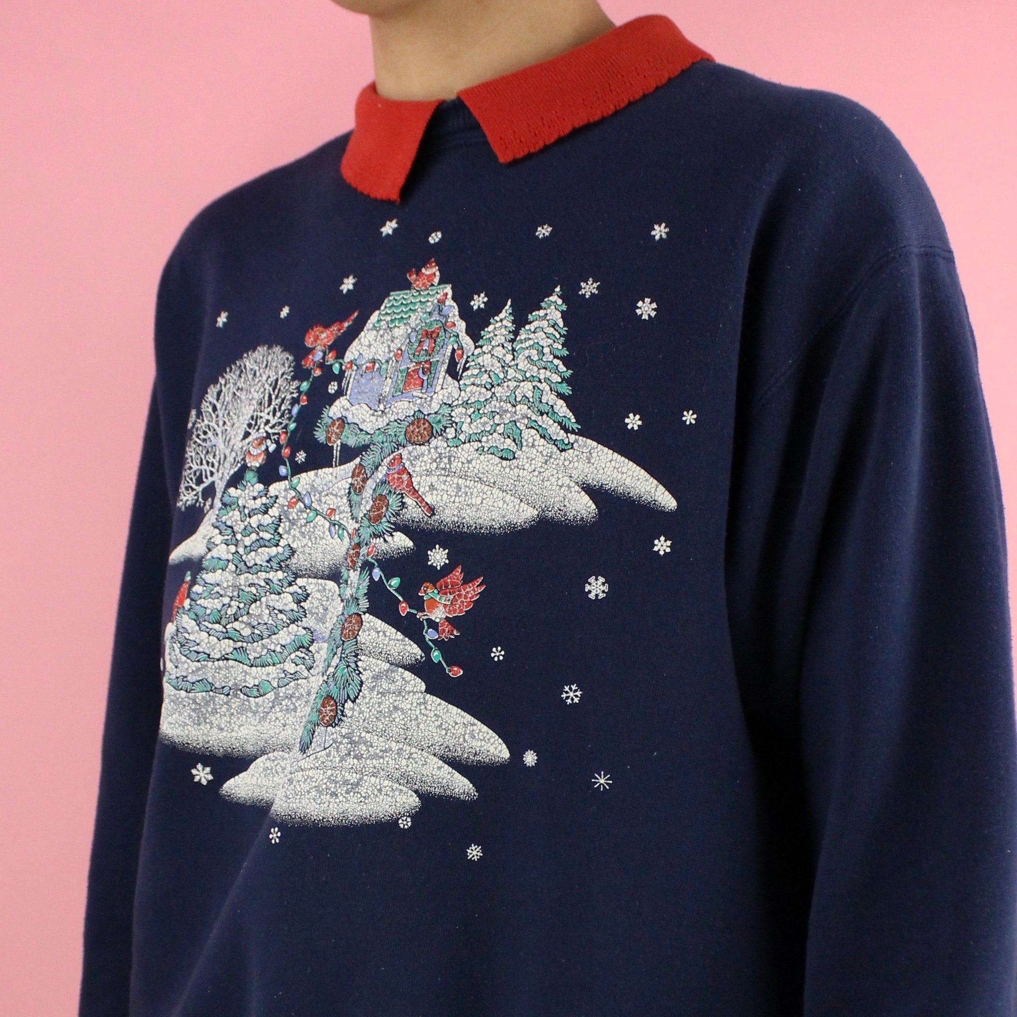 Early 90s Morning Sun Christmas Birdhouse Sweater