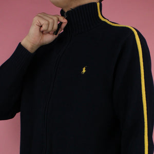 1980s Polo Ralph Lauren Yellow Stripe Zip-up Sweater