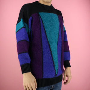 90s teal Color Block Sweater