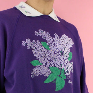 1991 Lee Lilac Floral Collar Sweater