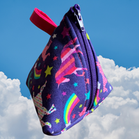 Handmade Purple Blue Unicorn Zipper Pouch Craptastic Junkhole