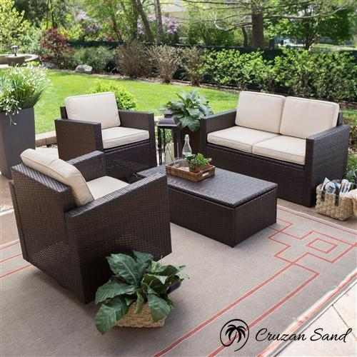 4-Piece Patio Furniture Dining Set with 2 Chairs Loveseat and Coffee Table-Outdoor Furniture-Cruzan Sand-Cruzan Sand