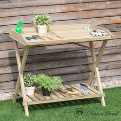 Giantex Outdoor Wood Potting Table-Furniture-Cruzan Sand-Cruzan Sand