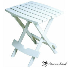 Outdoor Fast Folding Patio Side Table, White Weather Resistant Resin-Outdoor Furniture-Cruzan Sand-Cruzan Sand