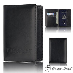PU Leather Wallet & Passport Holder-Travel Wallet-Cruzan Sand-Black-Cruzan Sand