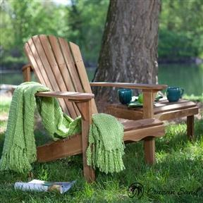 Solid Oak Wood Adirondack Chair with Linseed Oil Finish-Outdoor Furniture-Cruzan Sand-Cruzan Sand