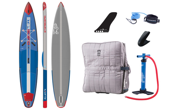 "12'6 x 27"" Starboard All Star Airline Inflatable Board comes with extra large travel Bag made from upcycled plastic bottles, lightweight leash, pop in fin and V8 two-way pump."