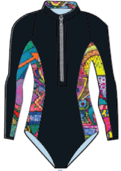 STARBOARD WOMENS LONG SLEEVE SUIT LYCRA  - BLACK