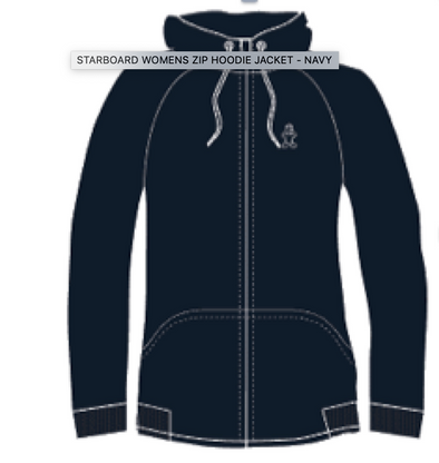 2019 STARBOARD WOMENS ZIP HOODIE JACKET - NAVY - M -  TEAM