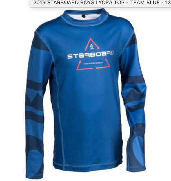 2019 STARBOARD BOYS LYCRA TOP - TEAM BLUE - 11-12 - TEAM