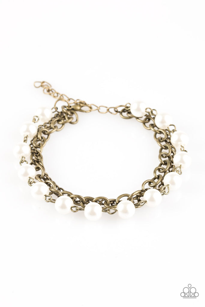 Classically Cambridge Brass and Pearl Bracelet