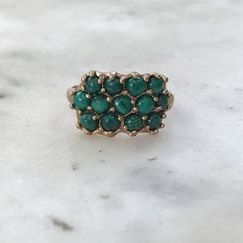 13 Stone Malachite Ring