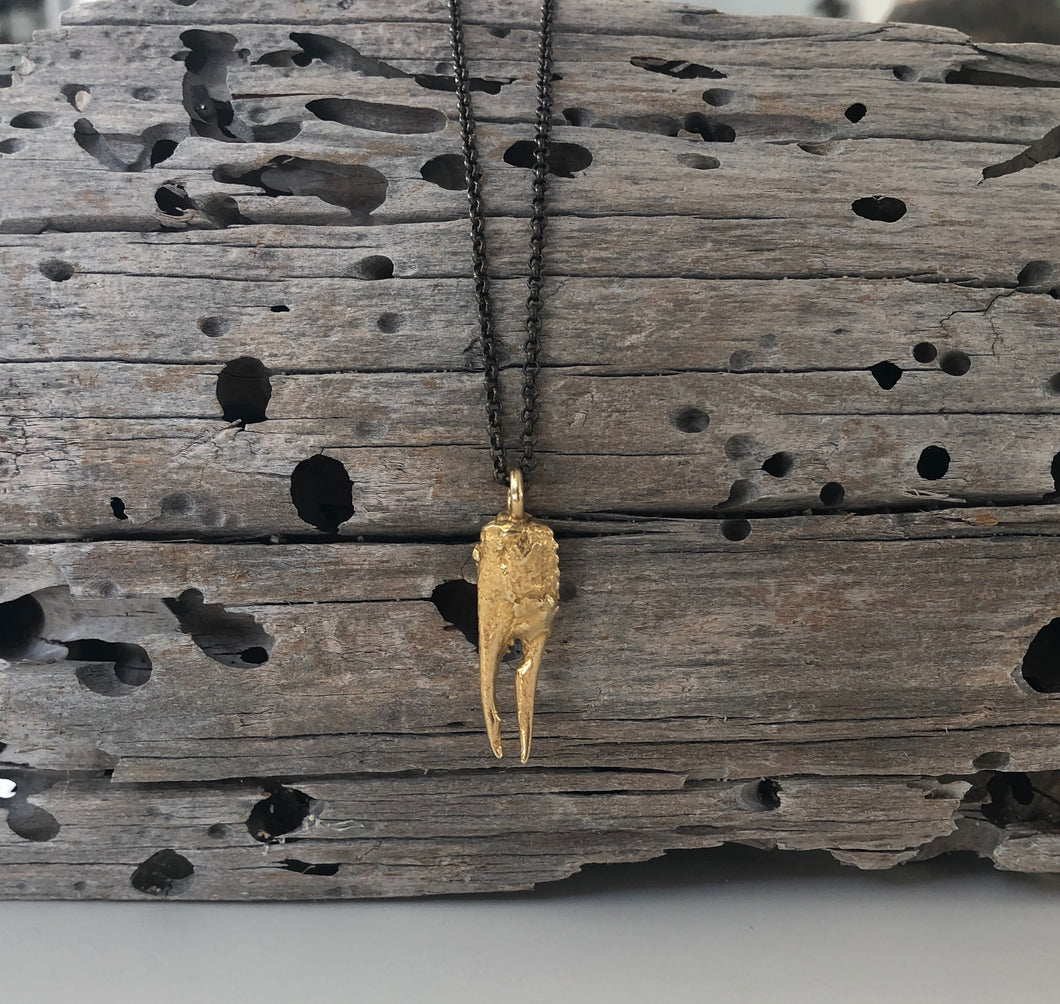 Petite Claw Brass Necklace