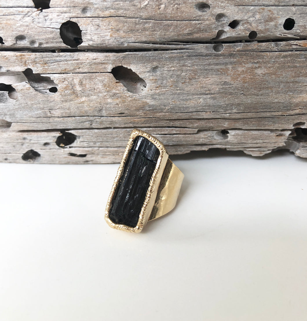 Black Velvet Tourmaline Ring • Medium