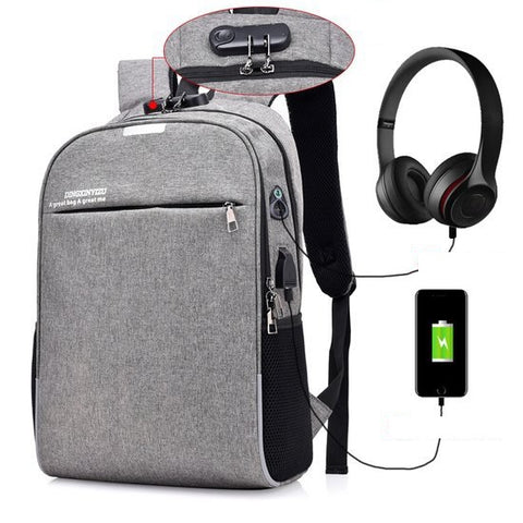 Anti-Theft Laptop Backpack with USB Charging Port