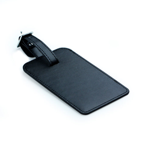 Leather Luggage ID Tag Black
